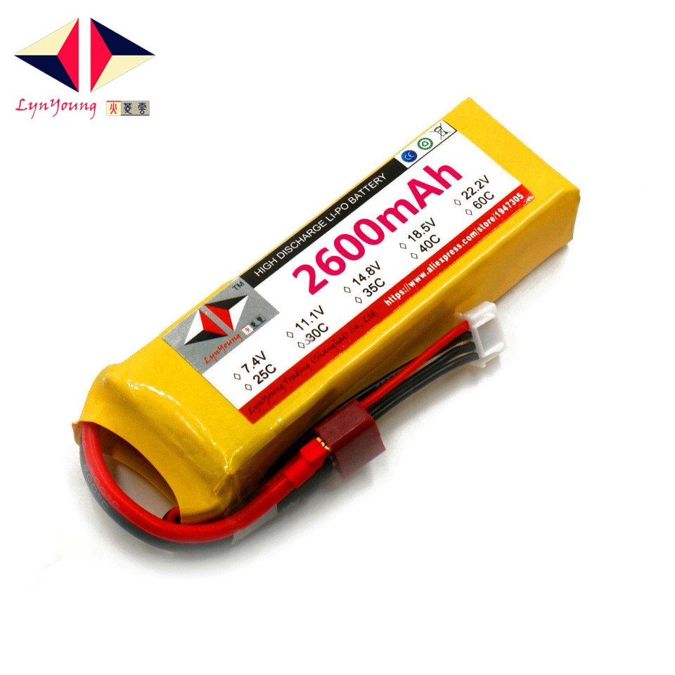 LYNYOUNG rc boat battery lipo 3s 11.1v 30C 2600mAh for airplane car boats Quadcopter AKKU