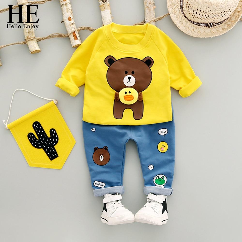 HE Hello Enjoy Toddler Boy Clothing Set Spring Autumn Kids Clothes 2018 Long Sleeve Cartoon Bear T-shirt+Pant baby boy set 2pcs set baby clothes set boy