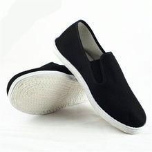 Cotton Sole Mens Kung Fu Closed Toe Slip On Shoes Black Cott