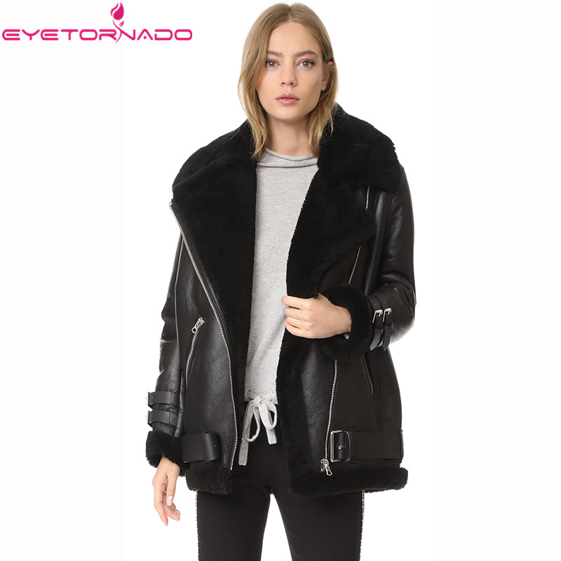 Women winter thick warm harajuku faux   leather     suede   jacket coat faux rabbit fur lining short zipper buckles coat outerwear