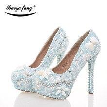 d76c25b9e3 BaoYaFang chegada Nova Luz Azul pérola sapatos de casamento Das Mulheres de  cristal Shell de moda sapatos de salto Alto mulher s.