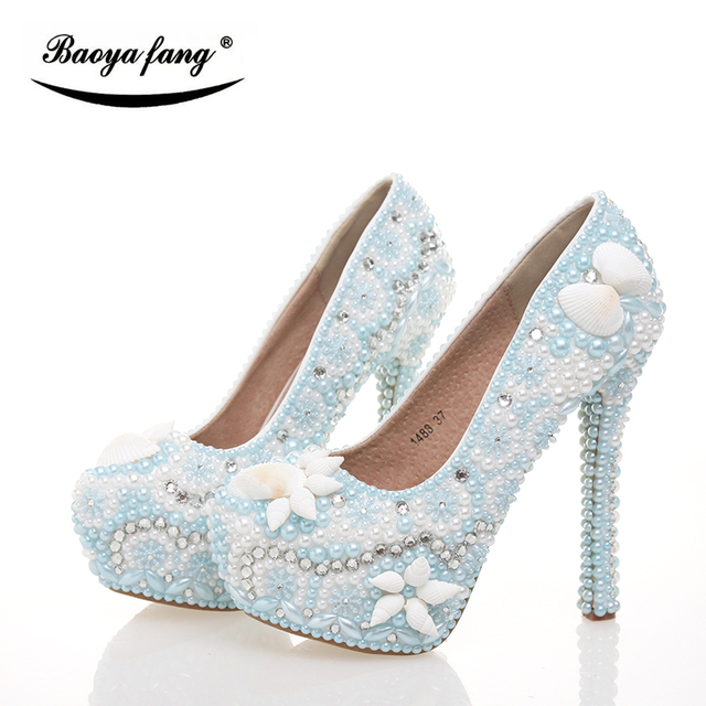BaoYaFang New Arrival Light Blue Pearl Women Wedding Shoes Shell Crystal  Fashion Shoes Woman High Heels