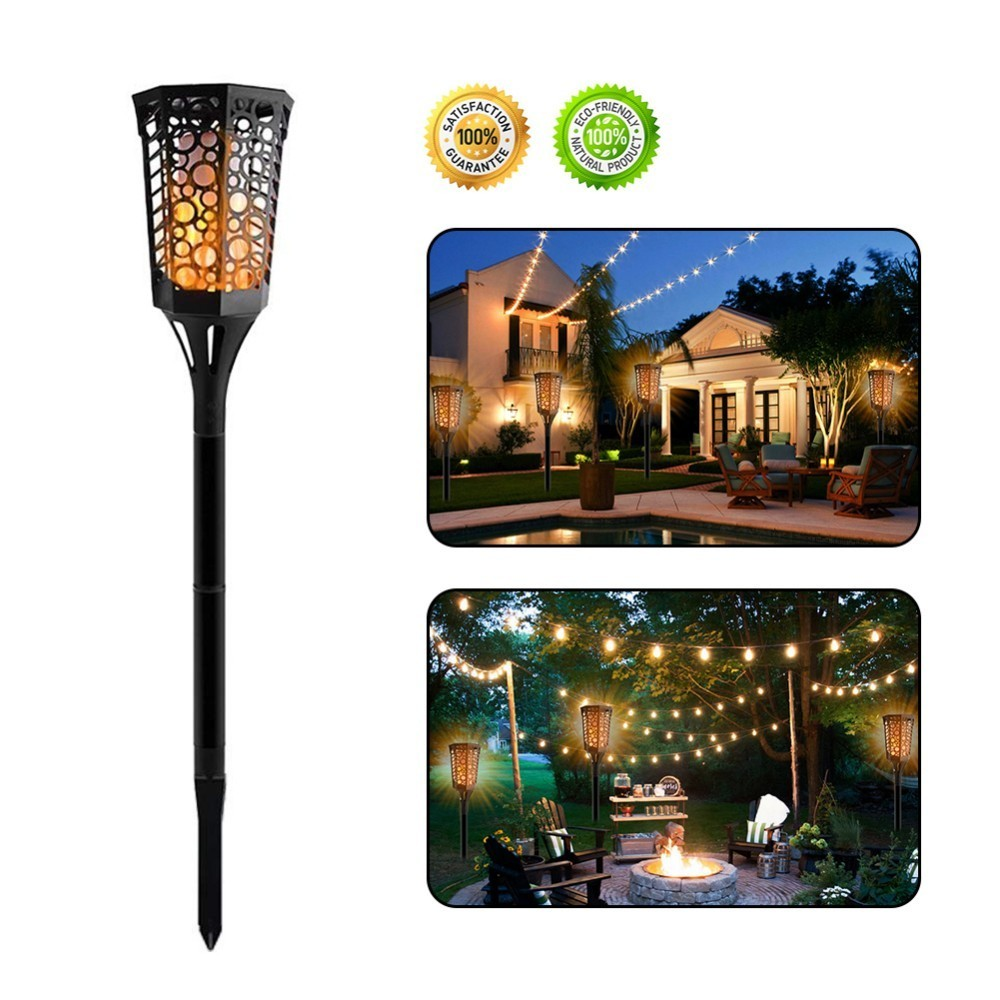 Lámpara de luz de fuego de llama de energía Solar 96led lámpara de llama al aire libre Luz de patio césped lámpara de pared de energía Solar camino de calle