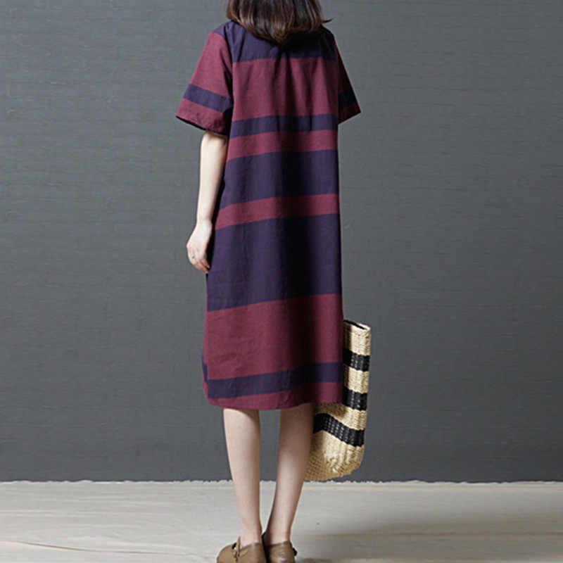 733a9a83e44 ... EaseHut 2019 Summer Dress Vintage Cotton Linen Women Dresses Casual  Loose Striped Comfortable Midi Dress Robe ...