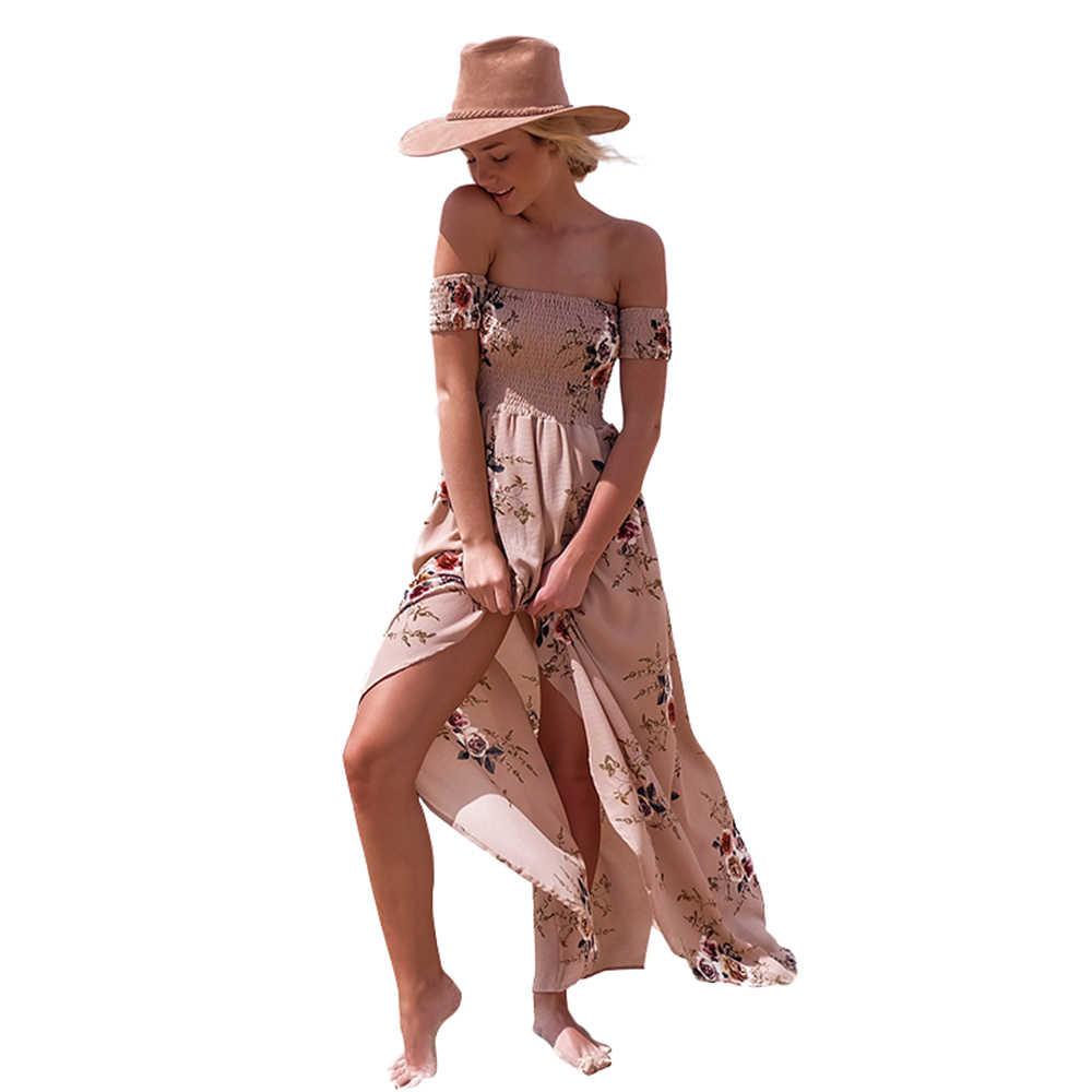 3e8c2b2f5fbc16b Boho Стиль длинное платье для женщин с открытыми плечами пляжные летние  платья цветочный принт Винтаж шифон