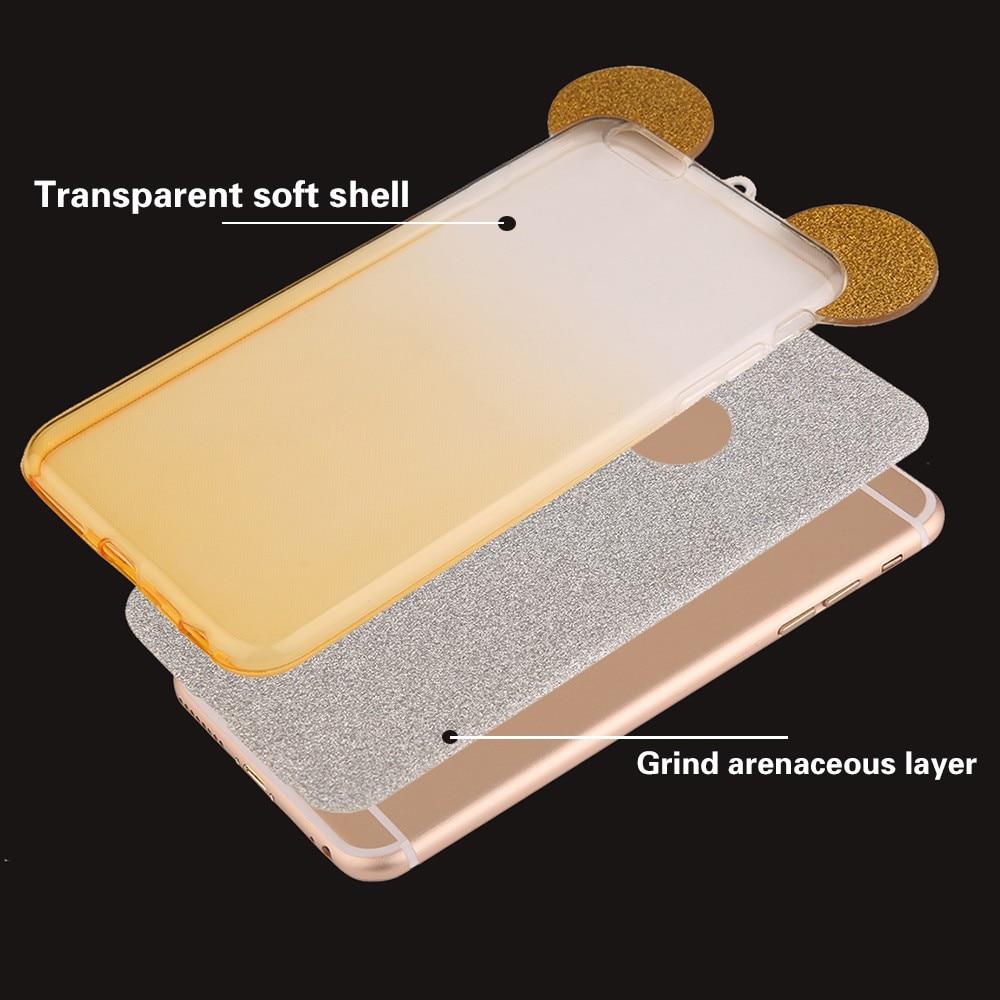 3D минни микки маус уши силиконовые блеск градиент случай для iphone 4 4s 5 5s 6 6 s 7 плюс крышки случая телефона случаях