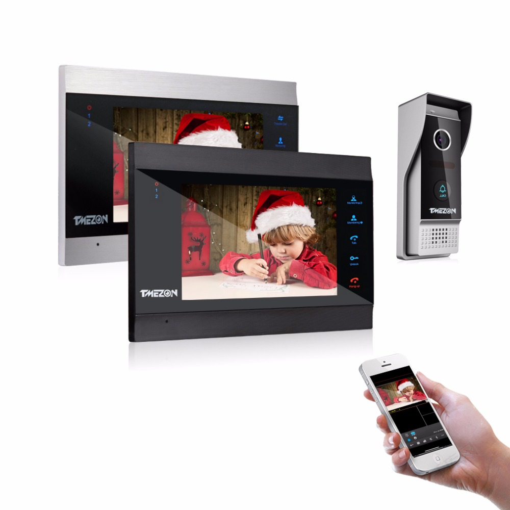 TMEZON 7 Inch Wireless/Wifi Smart IP Video Door Phone Intercom System with 2 Night Vision Monitor + 1 Rainproof Doorbell Camera tmezon 7 inch tft wired smart video door phone intercom system with 4 night vision monitor 2x1200tvl rainproof doorbell camera
