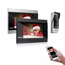 TMEZON 7 дюймов Беспроводной/Wifi Smart IP видео дверь домофон Системы с 2 ночи монитор для зрения + 1 непромокаемый дверной звонок Камера