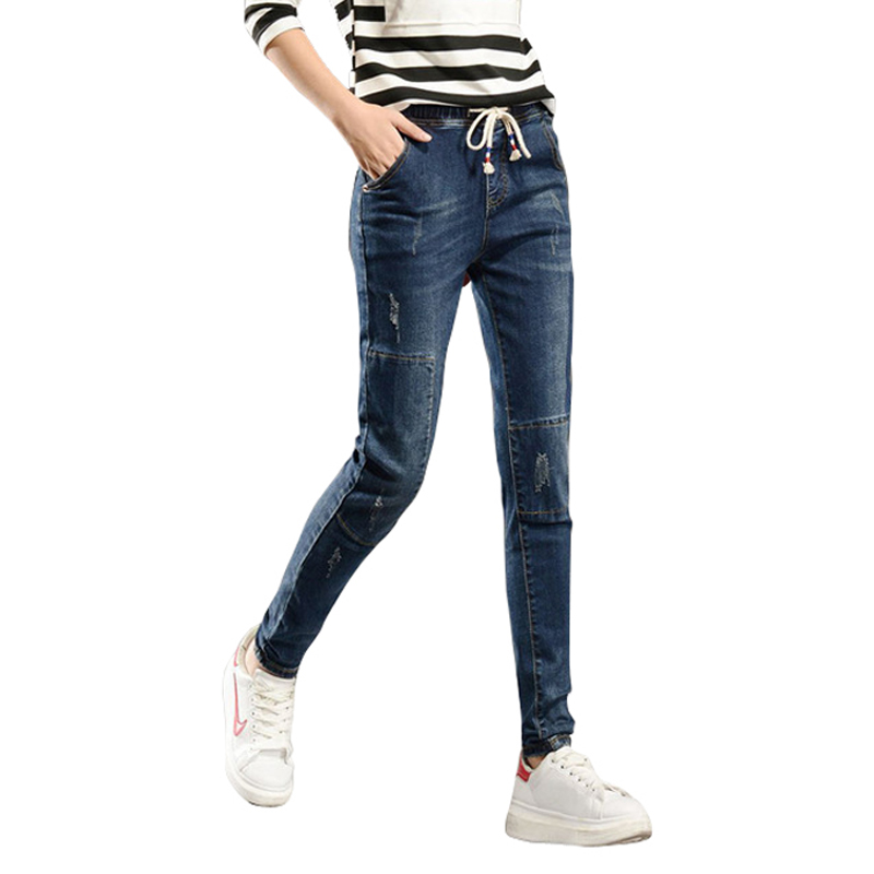 2017 drawstring Women Denim cotton mid Elastic waist Pants Spring Summer Jeans Female stretch spliced long