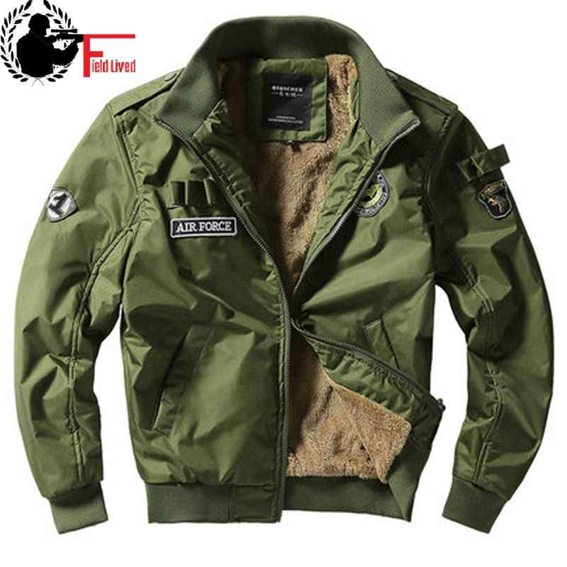 Bomber Jacket Ma1 Air Force Pilot Casual New Arrival Military Style Men Thick Fleece Velvet Coat Winter Male Green Blue Khaki