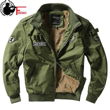 Bomber Jacket Ma1 Air Force Pilot Casual New Arrival Military Style Men Thick Fleece Velvet Coat Winter Male Green Blue Khaki - discount item  35% OFF Coats & Jackets