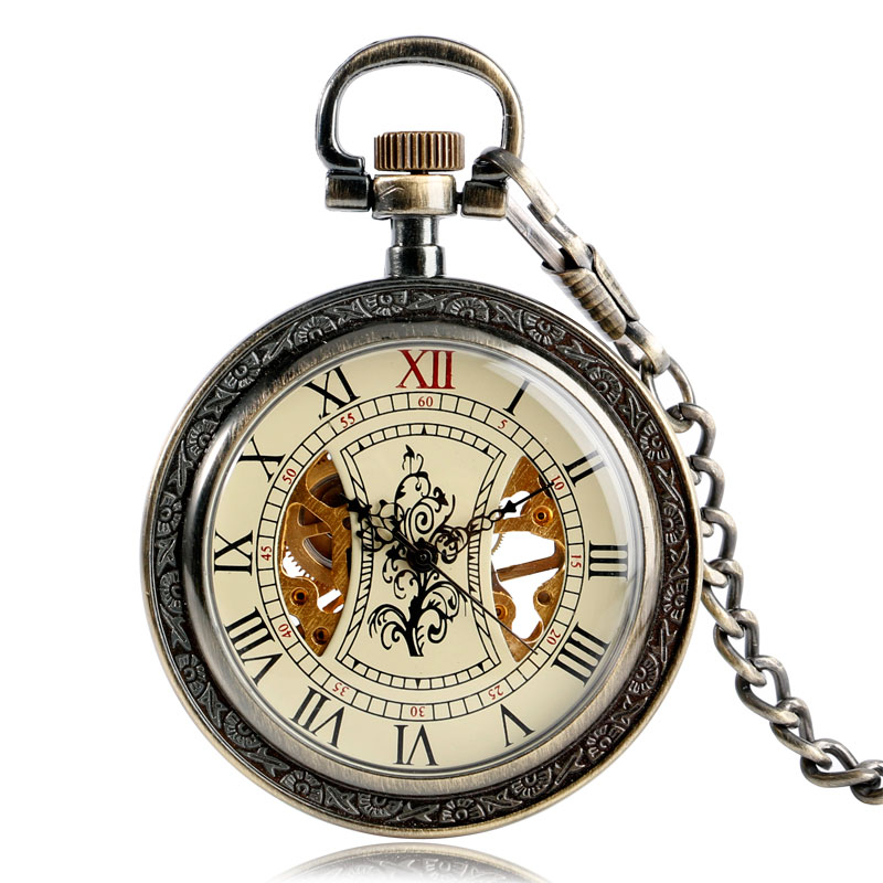 Vintage Tree Pattern Hand Winding Pocket Watches Women Men Fob Mechanical Chain Exquisite Skeleton Roman Numbers Wind Up Gift elegant retro fob chain pendant copper roman numbers skeleton hand winding mechanical pocket watch flower dial gift womens mens