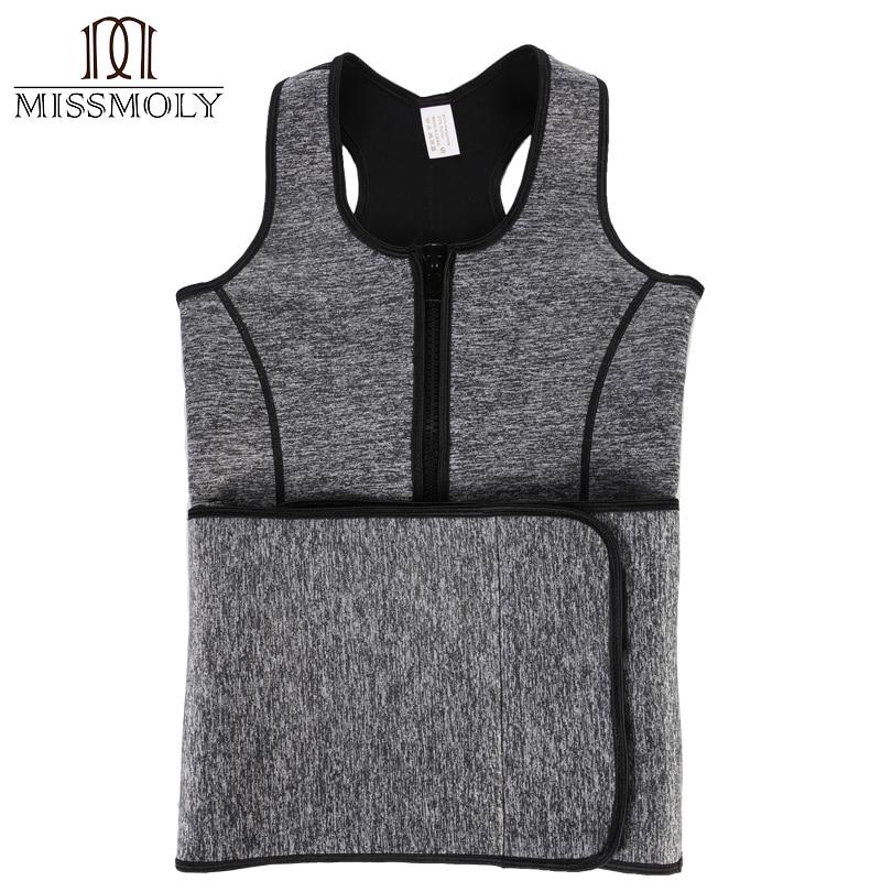 Image 5 - Miss Moly Neoprene Sweat Waist Trainer Body Shaper Modeling Belt Tummy Slimming Sheath Reducing Corset Woman Zipper Shapewear-in Tops from Underwear & Sleepwears