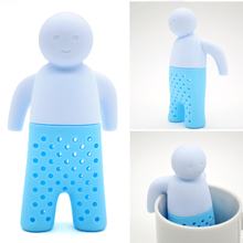 2017 Teapot Cute Tea Infuser/ Tea Strainer/ Coffee & Tea Sets/ Silicone Tea Creative Cute Man Teapot Strainers Blue