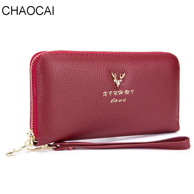 New design fashion women wallet brand Cow Leather wallets long zipper female casual purse clutch money clips with wrist new fashion vintage genuine leather wallets long women clutch embossing wallet ladies purse money clips carteira feminina