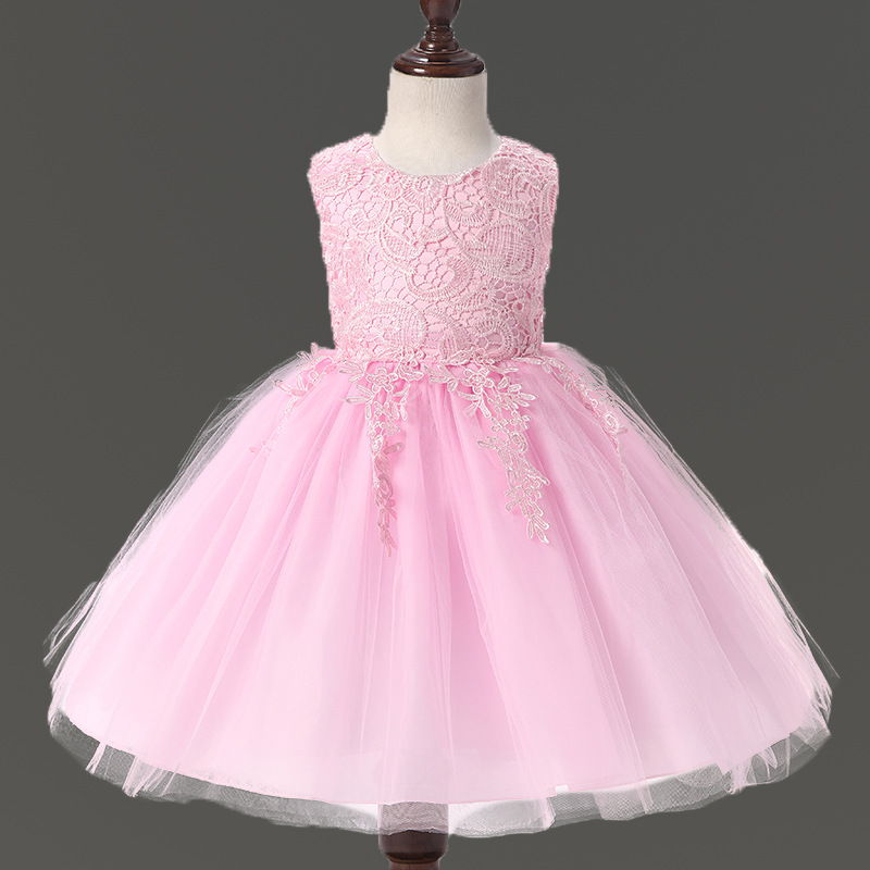 Embroidered Princess Dress for Flower Girl Fluffy Tutu Wedding Party Dress  High end Sleeveless Little Girls Dresses Summer 2017-in Dresses from Mother  ... ac9a6fc22f32