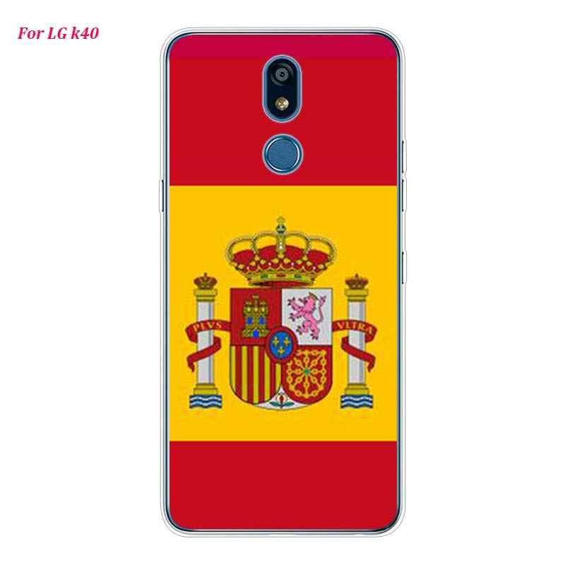 Silikon Lembut Ponsel Case Spanyol Spanyol Bendera untuk LG K50 K40 Q8 Q7 Q6 V50 V40 V35 V30 V20 G8 g7 G6 G5 Thinq Mini Cover