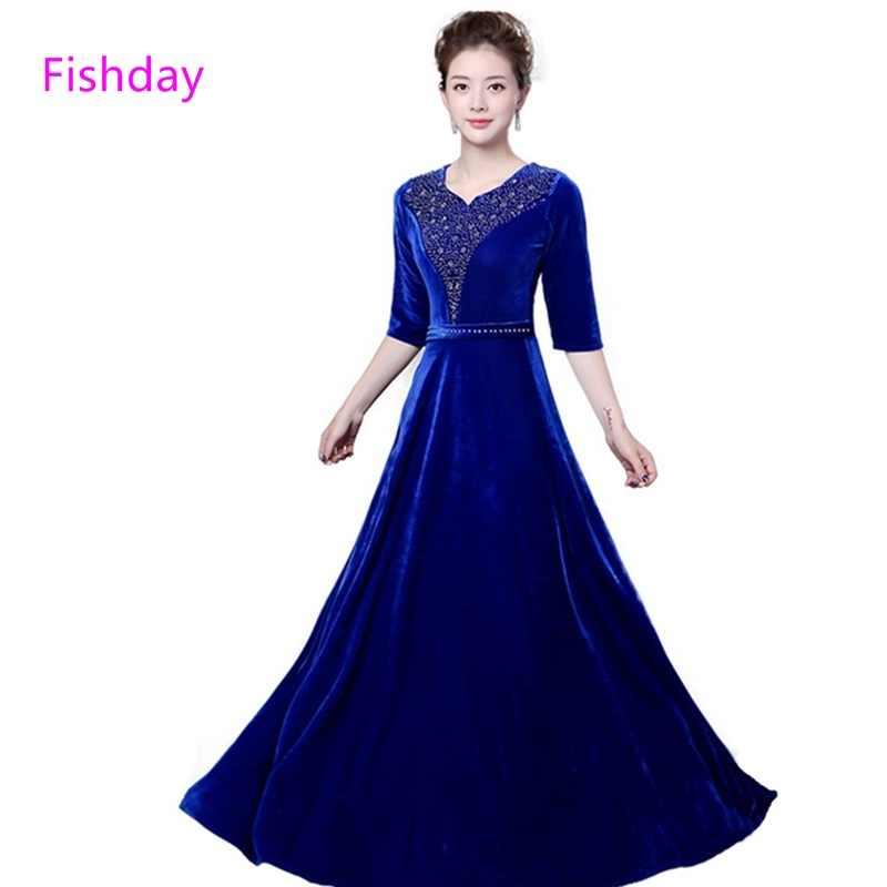 fa02be00d2f Fishday вечерние платья платье с длинным Плюс Размеры Для женщин  официальная вечеринка для матери невесты вечернее