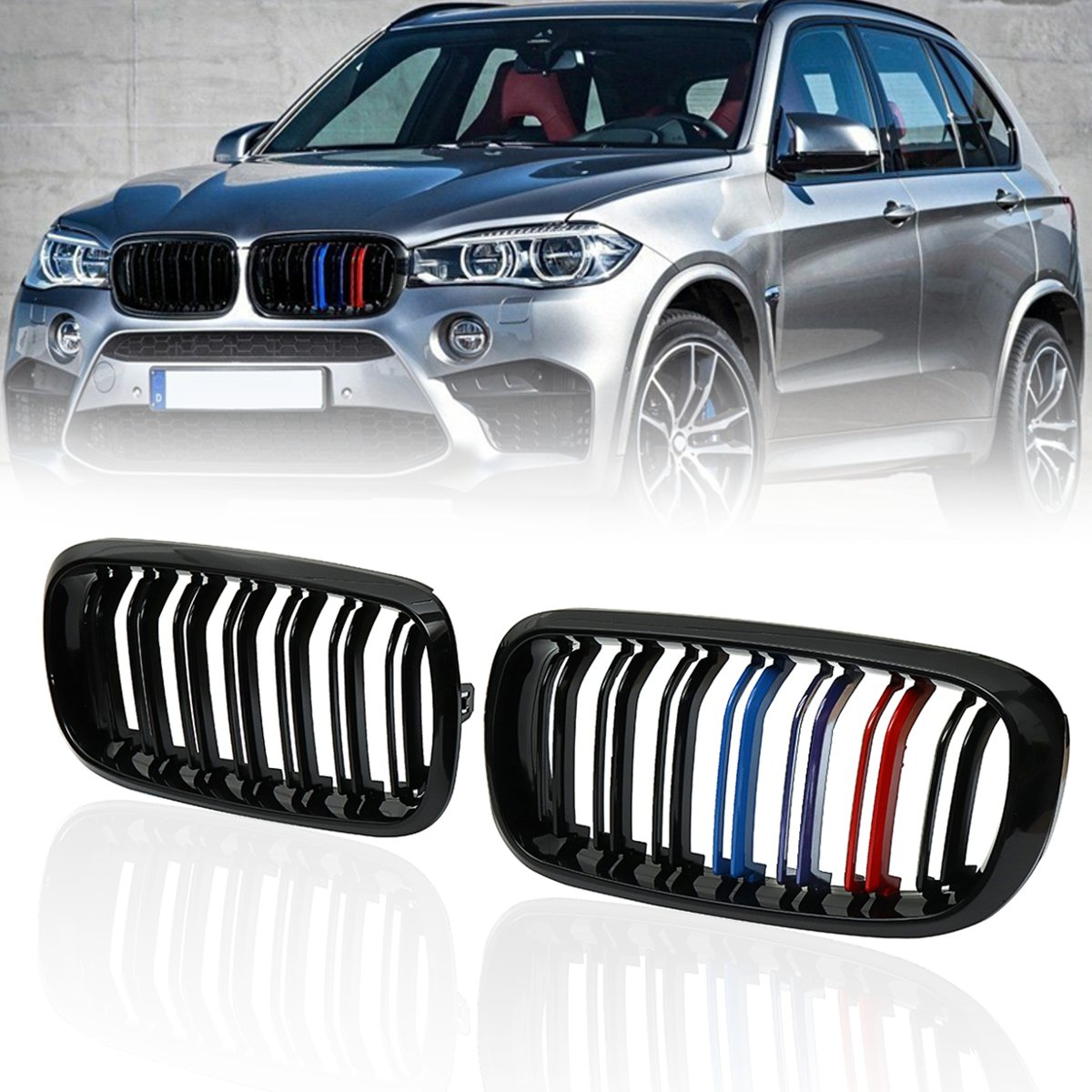 купить Pair Matte Gloss Black M Color Front Double Slat Kidney Grille For BMW F86 F15 F16 X5 X6 X5M F85 X6M F86 2014 2015 2016 2017