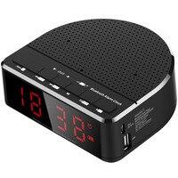 Multi Function LED Alarm Clock Wireless Bluetooth Speaker Music Player Radio Clock With Digital Display MYDING
