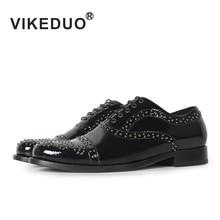 Vikeduo Элитный бренд новые личности моды Мужская обувь с заклепками мужские черные Ourdoor обуви Танцы партия обуви для мужчин Boy