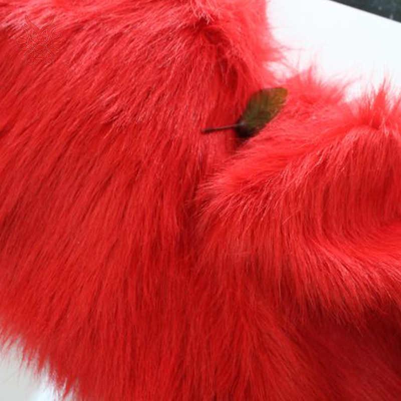 Tejido de piel sintética roja de pelo largo de 9cm de alto grado para abrigo de invierno, chaleco, cosplay etapa de decoración envío gratis 150*50cm 1 pieza SP2574