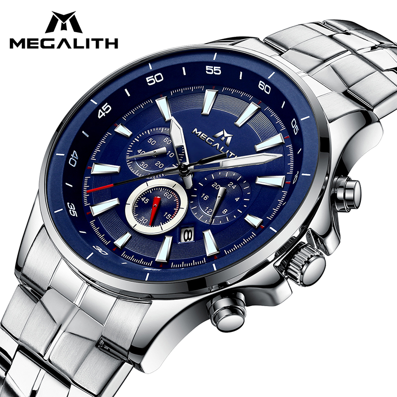 MEGALITH Quartz Watches Mens Waterproof Chronograph Calendar Silver Stainless Steel Wrist Watch Gents Sport Business Men's Watch megalith quartz watches mens waterproof chronograph calendar silver stainless steel wrist watch gents sport business men s watch