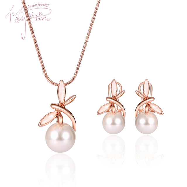 Women Rose Gold Color Imitation White Pearl Pendant Necklace Stud