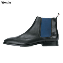 Top Quality New Luxury Design Handmade Pointed Toe Sexy Vintage Gentleman Ankle Boots Cow Leather Dress Party Chelsea
