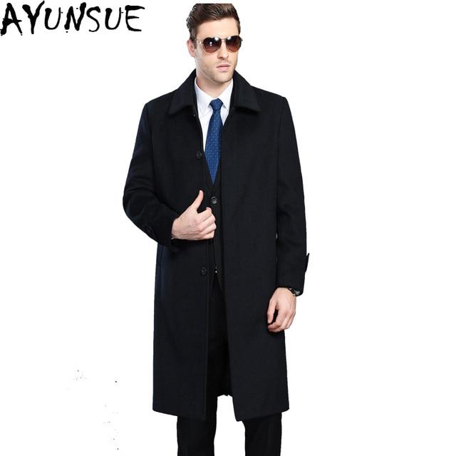 e29df669933 AYUNSUE Mens Cashmere Coat Winter Jacket Men Manteau Homme New 2018 Casual  X-Long pea coat for men Overcoat Plus Size 4XL LX786
