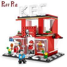 282pcs Chicken Fast Food Shop City Street Architecture Creator Building Blocks Compatible Legoingly Friends House Toys For Kids(China)