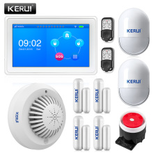 KR-K7 New arrival touch-screen amazing design 7 Inch TFT Color Display WIFI+ GSM flat table Alarm System kit+SD03 smoke detector