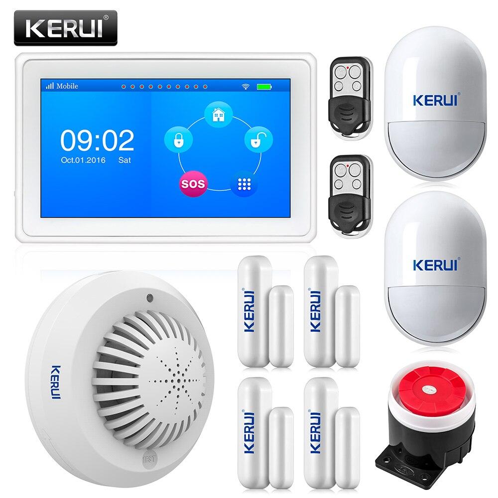 KR-K7 New arrival touch-screen design surpreendente 7 Polegada TFT a Cores Display WI-FI + GSM Sistema de Alarme de mesa plana kit + detector de fumaça SD03