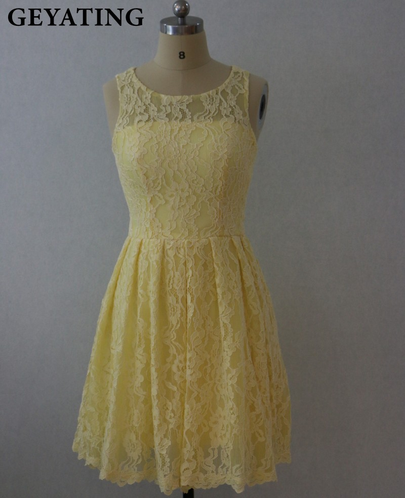 Silver Grey Light Yellow Lace Country Bridesmaid Dresses