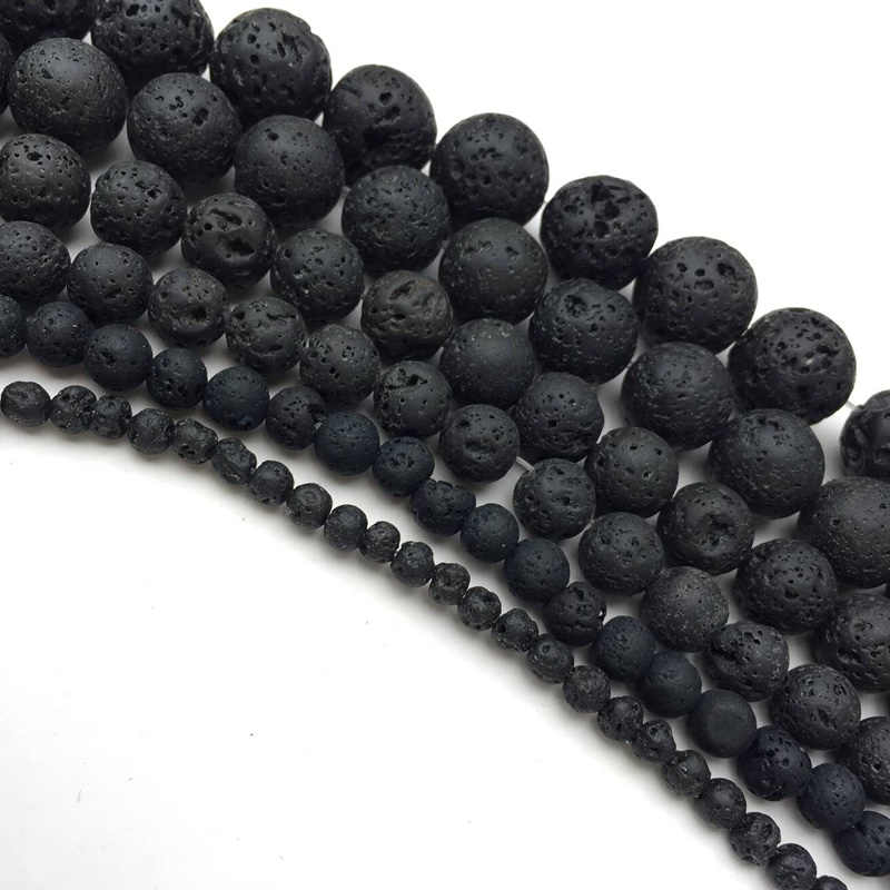 Natural Stone Beads DIY Black Volcanic Lava Beads Lava Stone Beads Round Volcanic-Stone Wholesale for Jewelry Making 4-14mm