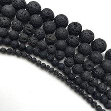 Contas de pedra natural diy contas de lava vulcânica preta contas de pedra de lava redonda vulcânica-pedra atacado para fazer jóias 4-14mm