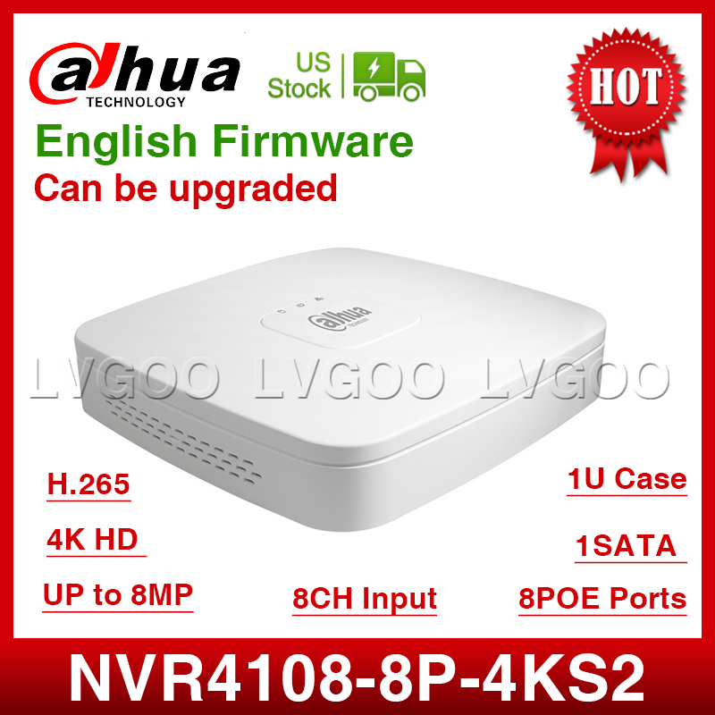 US Stock Dahua NVR NVR4108 8P 4kS2 8CH NVR 8MP Smart 1U 8PoE 4K H 265
