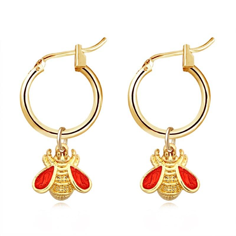 1 Para Europäischen Neue Trend Nette Kleine Biene Hoop Ohrringe Mit Anhänger Gold Farbe Rot Schwarz Flügel Ohrringe Als Partei Schmuck E532-t2 Direktverkaufspreis
