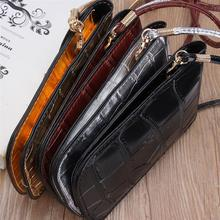 Osmond Silver Mobile Phone Mini Bags Small Clutches Shoulder Bag Crocodile Leather Women Handbag Black Clutch Purse Handbag Flap