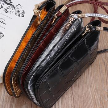 Osmond Silver Mobile Phone Mini Bags Small Clutches Shoulder Bag Crocodile Leather Women Handbag Black Clutch Purse Handbag Flap 8