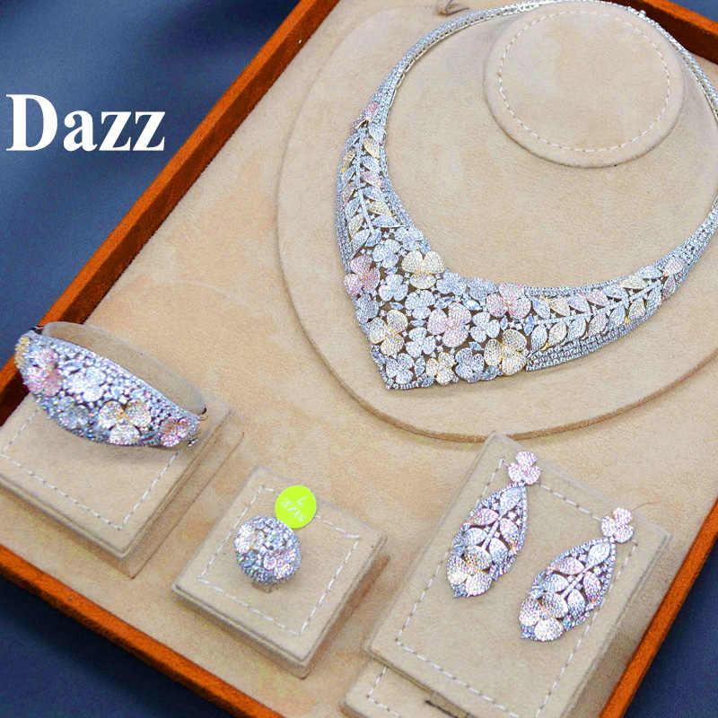 Dazz זהב צבע ניגריה סט תכשיטי יוקרה שרשרת עגילי צמיד טבעת CZ זירקון הכלה נשים חתונת אירוסין מתנה הטובה ביותר 2019