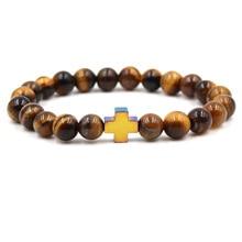 Beads Bracelet Trendy Jewelry Men Pulseira Feminina Charm Tiger Eye Natural Stone Cross Reiki Elastic Force Rope Women