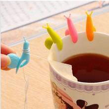 6pcs/bag Lovely Tea Bag Clip Candy Colors Snail Shape Wine Glass Cup C