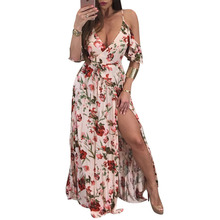 Woman Bohemian Dresses Sexy Deep V Neck Retro Vintage Floral Print Half Sleeve Tunic Belted Long Maxi Dress Party Female Dress недорого