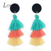 Boho Multilayer Tassel Pedant Earrings For Women Fashion Round  Long Fringed Dangle Earrings Statement Jewelry Trendy Party Gift
