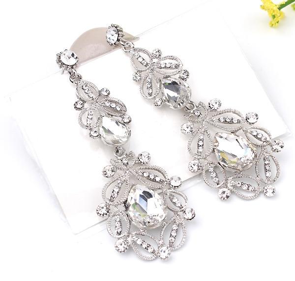 Fashion Big long Blue crystal drop earrings for women vintage flower silver plated bride Earrings wedding Jewelry accessories