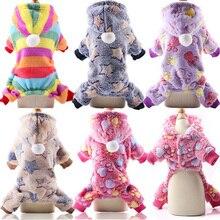 Купить с кэшбэком 2019 Dog Pajamas Fleece Jumpsuit Autumn Winter Dog Clothes Four legs Warm Pet Clothing Outfit Small Dog Star Costume 25S1