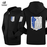 ROLECOS Anime Attack On Titan Jacket Cosplay Costumes Black Gray White Zipper Unisex Hoodie Scout Regiment