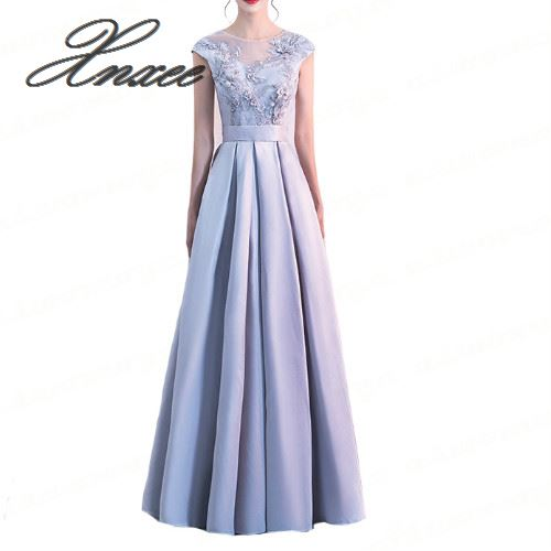 Elegant Women Dress 2019 New A Line Dresses Appliques Flower Party Dress Illusion O Neck