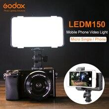 Godox LEDM150 5600 K LED telefonu komórkowego lampa wideo jasny panel z wbudowanym baterii bateria wielokrotnego ładowania (zasilania USB opłata)